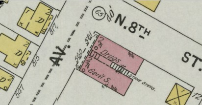 Close-up of the Block Building from the Sanborn Map in 1899 shows the unique 2-business construction.