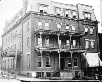 The Chambers Hotel originally had a 4th floor and a mansard roof. Photo circa 1900 courtesy Apollo Area Historical Society.