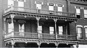 Wooden balustrade (railing), turned wood posts and details in the early 1900s.