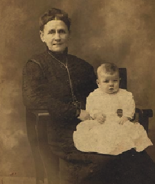 Photo believed to be Elizabeth Truby (aka Betsy or Ma Truby) with grandson Seibert C Truby c 1884