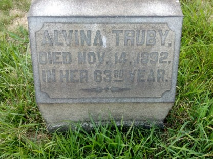 The Captain's wive, Alvina Hill Truby. She's the sister of Elizabeth Hill Truby, who married Apollo farmer Simon Truby. grave, Leechburg Cemetery. Photo by Vicki Contie, April 2016