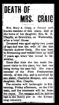 Obituary for Mary Anne Craig, wife of Capt Andrew Craig.